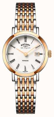 Rotary Womans Windsor Two Tone Silver Rose Gold Metal Strap LB90155/01