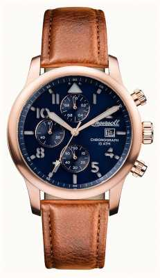 Ingersoll Mens Discovery The Hatton Brown Leather Strap Blue Dial I01502