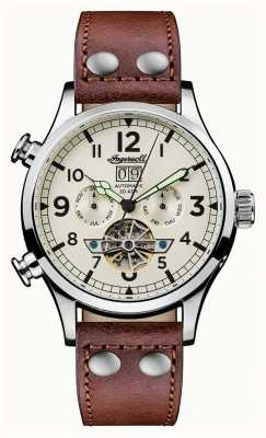 Ingersoll Mens Discovery The Armstrong Brown Leather Strap White Dial I02101
