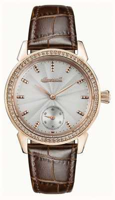 Ingersoll Womens Chronicle The Gem Brown Leather Strap Grey Dial I03702