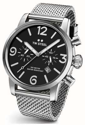 TW Steel Mens Maverick Black Chronograph Dial Steel Mesh Strap 48mm MB14