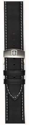 Elliot Brown Mens 22mm Black Oiled Leather Deployant Strap Only STR-L02