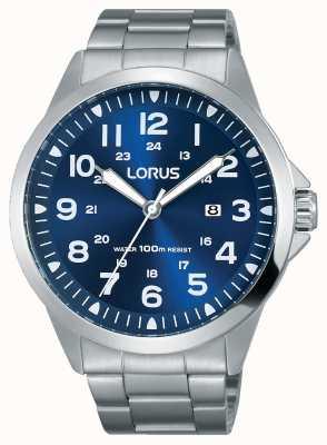 Lorus Mens Stainless Steel Bracelet Blue Dial RH925GX9