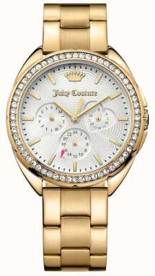 Juicy Couture Womens Capri Gold Tone Stainless Steel Silver Dial 1901479