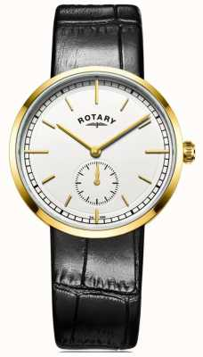Rotary Mens Canterbury Black Leather Strap White Dial GS05062/02