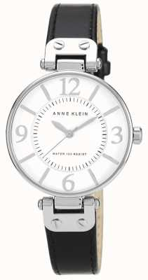 Anne Klein Womens Black Leather Strap White Dial 10/N9169WTBK