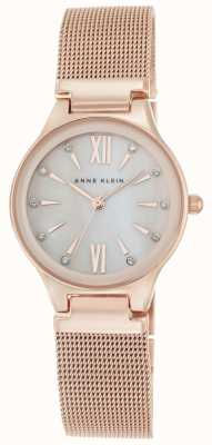 Anne Klein Womens Rose Gold Tone Mesh Mother Of Pearl Dial AK/N2418BMRG