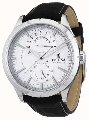 Festina Mens Black Leather Strap White F16573/1