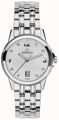 Michel Herbelin Womans Stainless Steel City Mother Of Pearl Diamond Dial 14250/B89