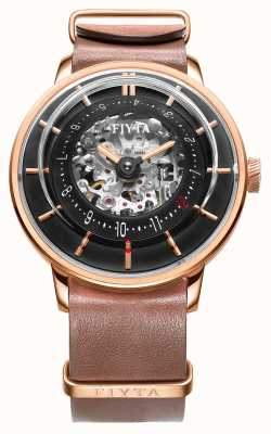 FIYTA Mens 3D Time Automatic Leather Rose Gold WGA868000.PBR
