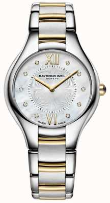 Raymond Weil Womans Noemia Stainless Steel Two Tone 10 Diamond Pearl Dial 5132-STP-00985