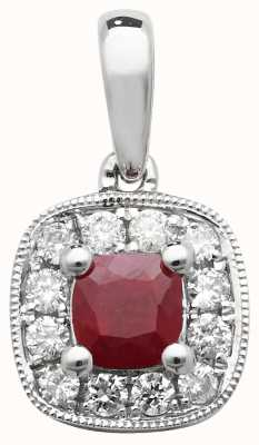 Treasure House 9k White Gold Diamond and Ruby Cushion Pendant PD242WR
