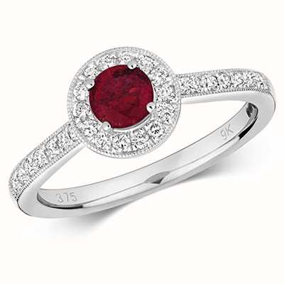 James Moore TH 9k White Gold Round Ruby Diamond Cluster Ring RD414WR