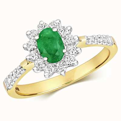 James Moore TH 9k Yellow Gold Diamond Emerald Oval Cluster Ring RD502EM