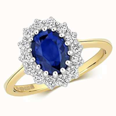 James Moore TH 9k Yellow Gold Diamond Sapphire Cluster Ring RD280S