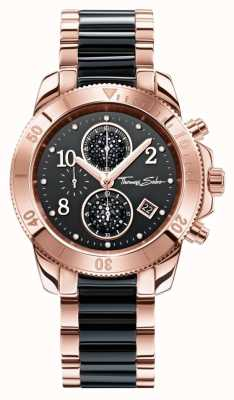 Thomas Sabo Womens Glam Chrono Black/Rose Gold WA0223-268-203-40