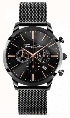 Thomas Sabo Mens Rebel Spirit Chrono Black Mesh WA0247-202-203-42