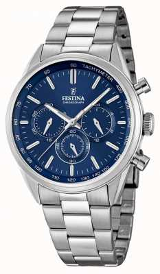 Festina Mens Stainless Steel Blue Dial Chrono F16820/2