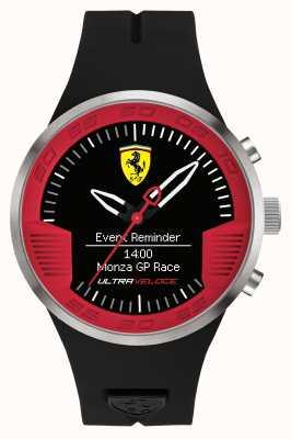 Scuderia Ferrari Mens Black Rubber Strap Black Red 0830373