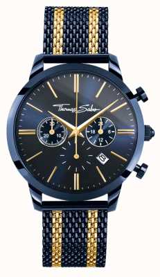 Thomas Sabo Mens Rebel Spirit Blue Steel Yellow Gold Stripes Chronograph WA0290-286-209-42