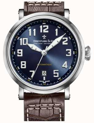 Dreyfuss Mens Automatique Brown Leather Strap Blue Dial DGS00153/52