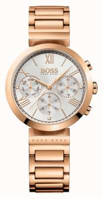 Boss Womens Classic Sport Rose Gold Plated Bracelet Silver Dial 1502399