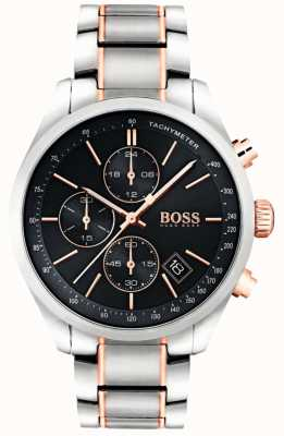Boss Mens Grand Prix Stainless Steel Bracelet Black Dial 1513473