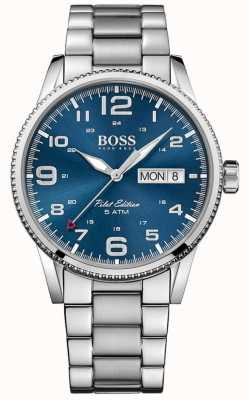 Hugo Boss Mens Pilot Vintage Stainless Steel Bracelet Blue Dial 1513329