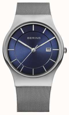 Bering Mens Milanese Mesh Strap Blue Face Watch 11938-003