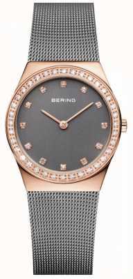 Bering Ladies Milanese Mesh Strap Zirconia Set Watch 12430-369