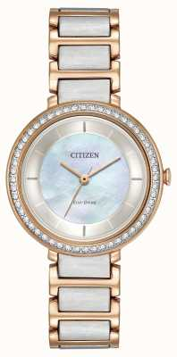 Citizen Womans Eco-Drive Silhouette Crystal Two Tone Rose Gold EM0483-89D