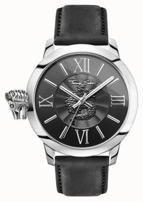 Thomas Sabo Mens Rebel With Karma Stainless Steel Black Leather WA0295-218-203