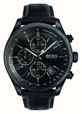 Boss Mens Grand Prix Chronograph Black Leather Strap Black Dial 1513474