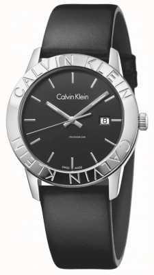 Calvin Klein Womans Steady Black Leather Black Dial K7Q211C1