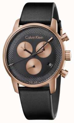 Calvin Klein Mens City Chronograph Blue Dial Black Leather K2G17TC1
