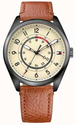 Tommy Hilfiger Mens Dylan Brown Leather Strap Cream Dial 1791372