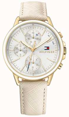 Tommy Hilfiger Womens Carly White Leather Strap White Dial 1781790
