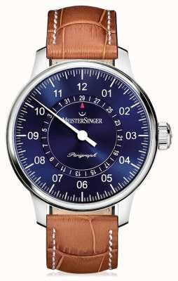 MeisterSinger Men's Classic Plus Perigraph Brown Leather Strap Blue Dial AM1008