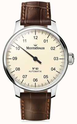 MeisterSinger Mens Classic No. 3 Automatic Ivory AM903