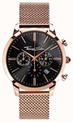 Thomas Sabo Mens Eternal Rebel Rose Gold Plated Mesh Bracelet Chrono WA0246-265-203-42