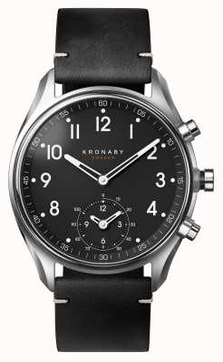 Kronaby 43mm APEX Bluetooth Black Leather Strap A1000-1399 S1399/1