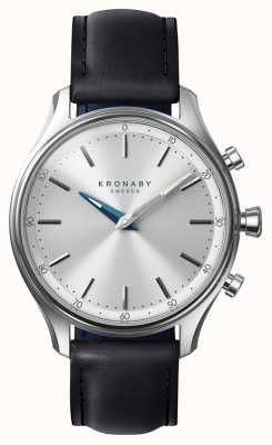 Kronaby 38mm SEKEL Bluetooth Black Leather Strap Smartwatch A1000-0657