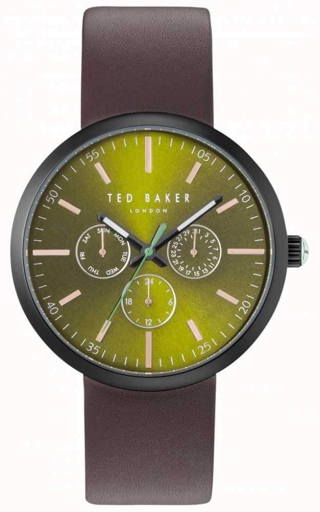 a029cb000fad14 Ted Baker Mens Jack Green Chronograph Dial Brown Leather Strap ...