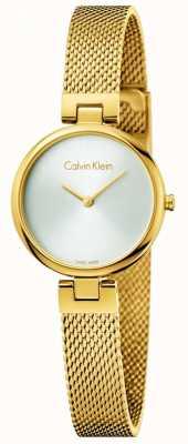 Calvin Klein Womans Authentic PVD Gold Plated Steel Mesh Bracelet K8G23526
