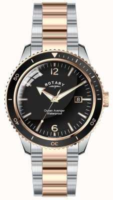 Rotary Mens Ocean Avenger Two Tone Black Dial GB02695/04