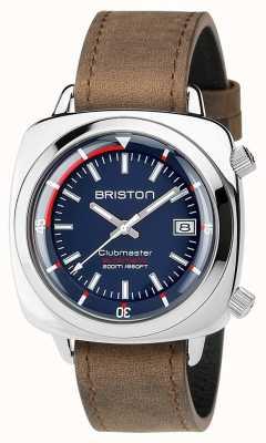 Briston Unisex Clubmaster Diver Brushed Steel Leather Auto Navy 17642.PS.D.15.LVBR