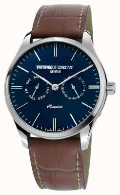 Frederique Constant Mens Classics Quartz Brown Leather Strap Blue Dial FC-259NT5B6