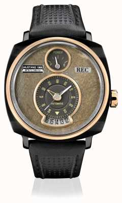 REC P51-03 Mustang Automatic Black Leather Strap P51-03