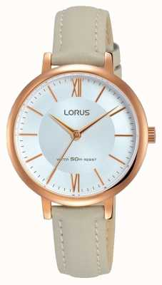 Lorus Womans Sunray Dial Soft Grey Leather Strap RG264LX7