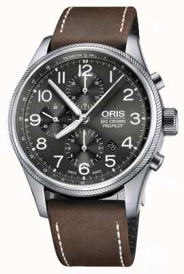 Oris Big Crown Propilot Automatic Chronograph Brown Leather Strap 01 774 7699 4063-07 5 22 05FC